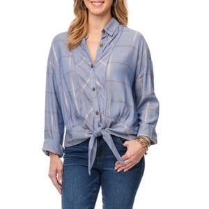 Democracy Long Sleeve Plaid Tie Front Blouse Large